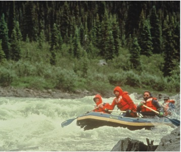 A group of people rafting at the Bonnet Plume River, Yukon