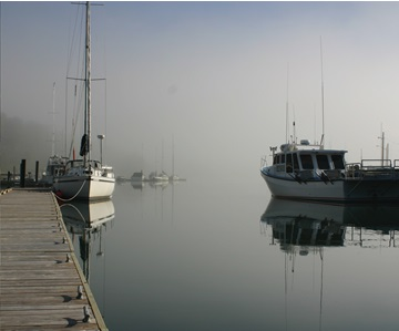 Image of boats on the port of The Three Rivers, Prince Edward Island