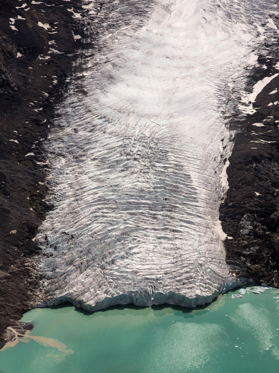 An aerial view of the Columbia Glacier.