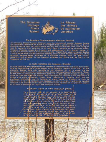 Plaque for Boundary Waters-Voyageur Waterway Photo: CHRS