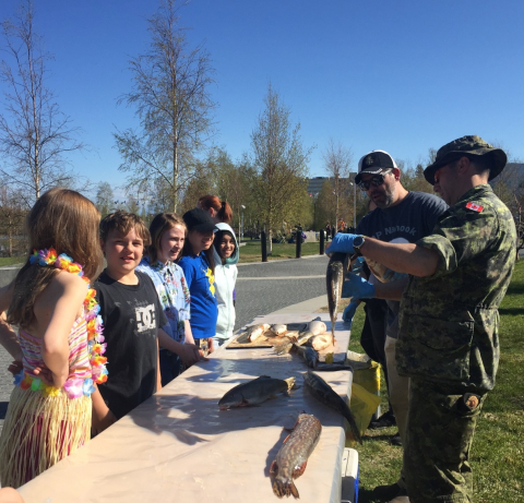 hildren learn about fish biology through a dissection, at Rivers to Oceans Day held in Yellowknife on June 11th""