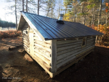 The newly renovated Cofan Cabin, near Sand Beach Lake on the Shelburne River system